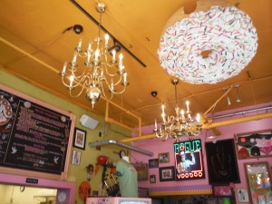 The good news is Voodoo Doughnuts has some pretty cool chandeliers to look at that are far enough out of reach to avoid damaging them (and people's heads)! The bad news: you'll have to look at them and the other tall-people-friendly decorations for a long time since the line is always long!