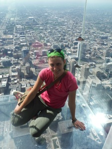 On the Willis Tower Skydeck...before eating pizza...in Chicago.