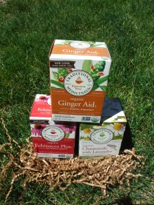 Traditional Medicinals herbal tea- ginger aid, echinacea plus, chamomile with lavender