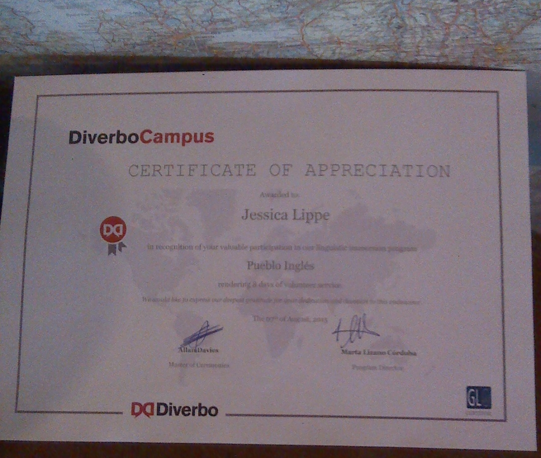 Diverbo Certificate of Appreciation