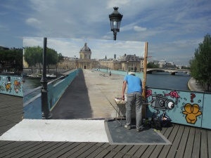 Unlocked Bridge and Artist Paris