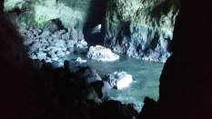 Inside the cave. If you look closely, you'll find sea lions on the rock in the middle of the water.
