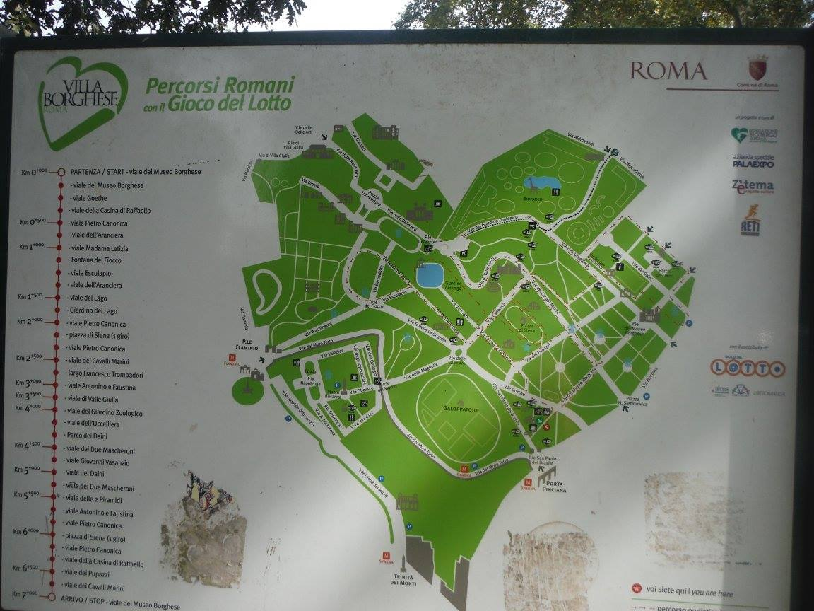 Villa Borghese Map, Roma Italia