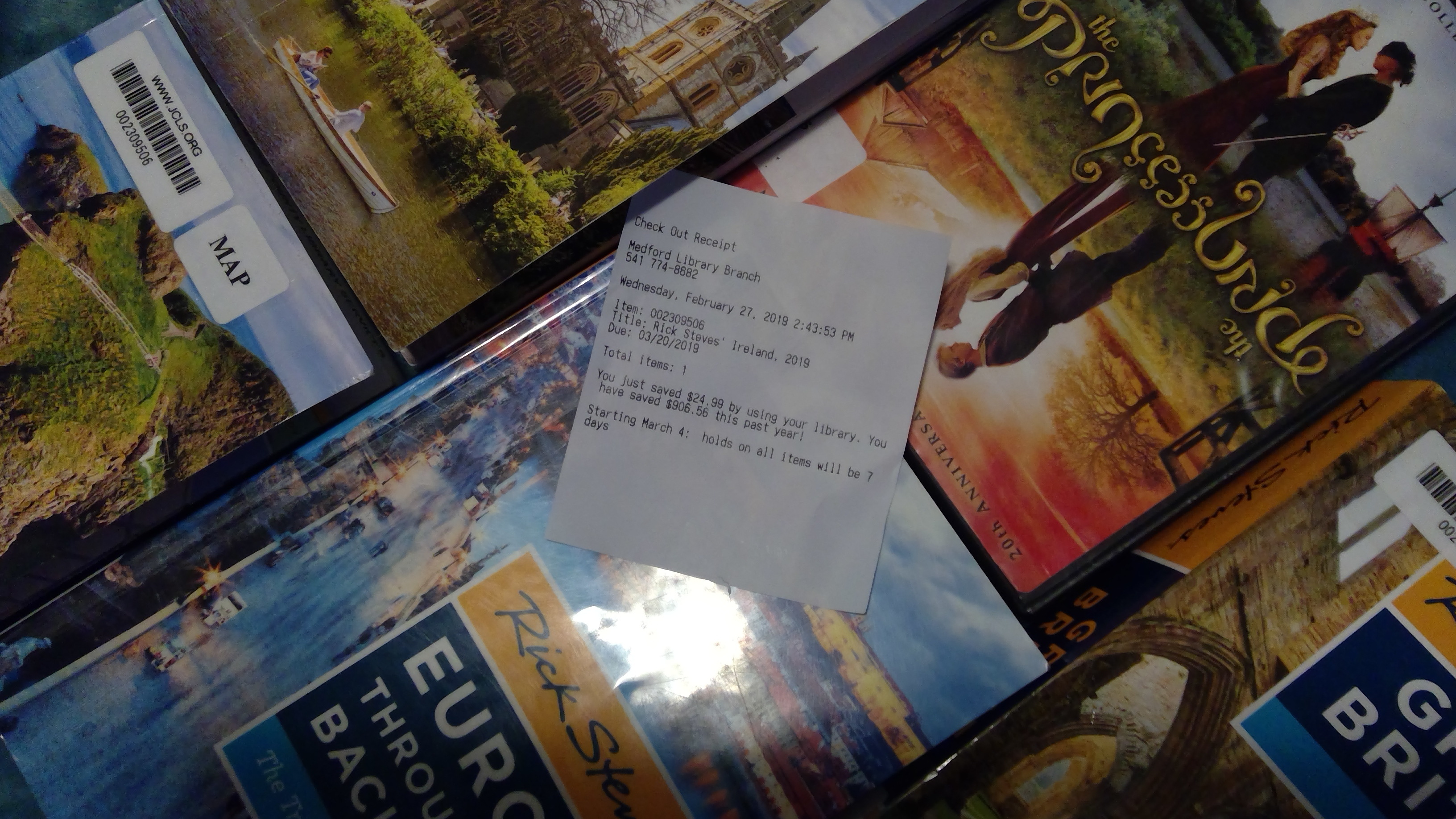 Library Guidebooks, Movie, and Reciept